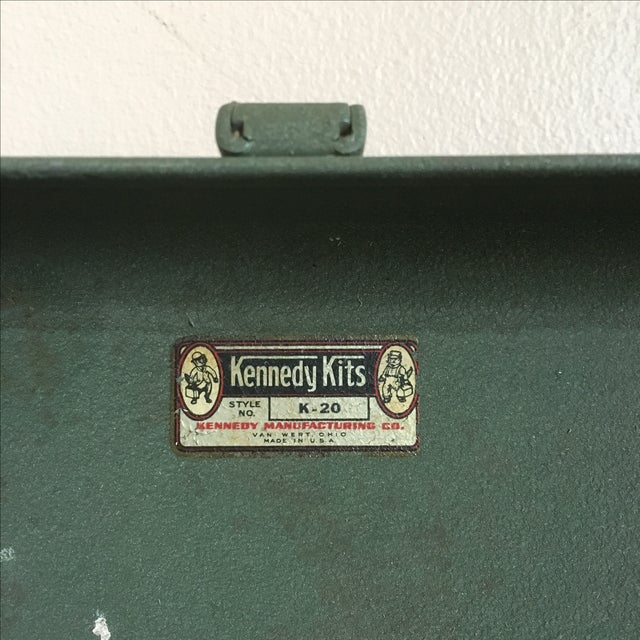 Green Vintage Green Kennedy Tool Box For Sale - Image 8 of 11