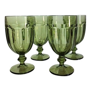 Libbey Gibraltar Olive Green Duratuff Iced Tea Glasses - Set of 4 For Sale