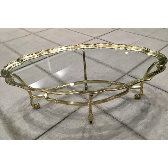 Scalloped Edge Brass and Glass Mid-Century Modern Coffee Table by Labarge For Sale - Image 9 of 13
