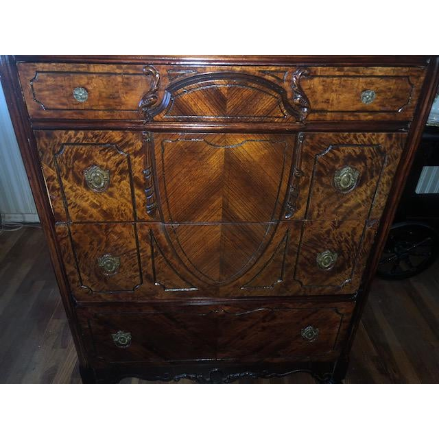 Wood Antique 1930's Burled Walnut Dresser Chest Bureau With Mounted Glove Box For Sale - Image 7 of 13