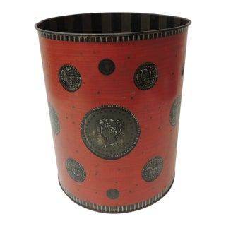 1980s Vintage Red and Gray Cameo Style Wastebasket For Sale