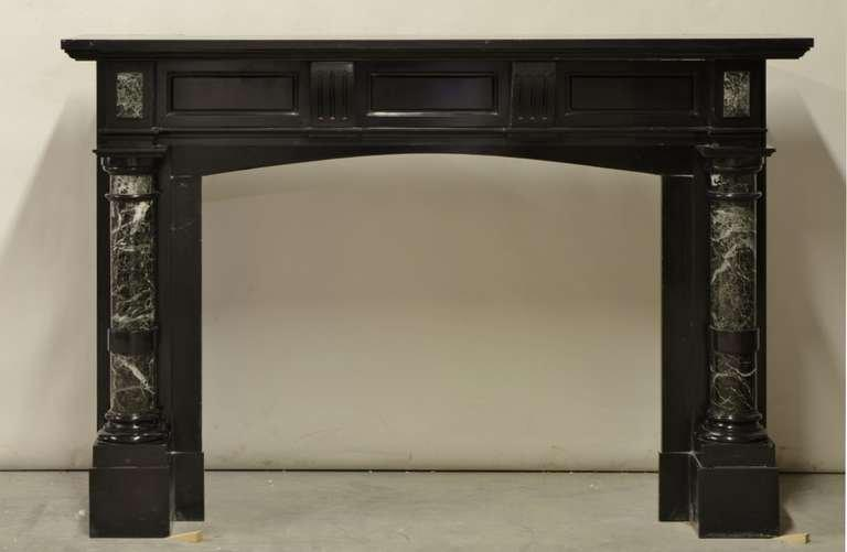 Incredible Late 19th Century Dutch Black Marble Fireplace With