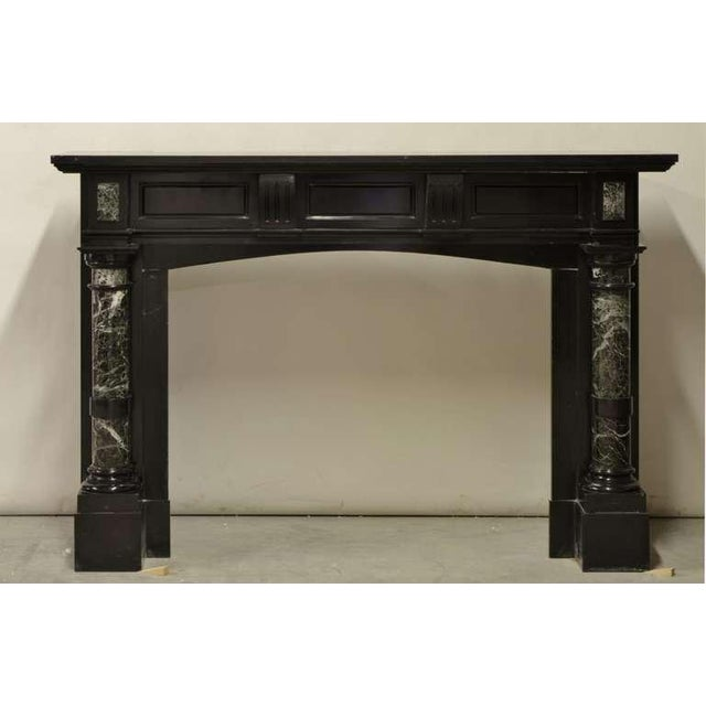 Late 19th Century, Dutch Black Marble Fireplace with Green Marble Pillars For Sale - Image 4 of 6