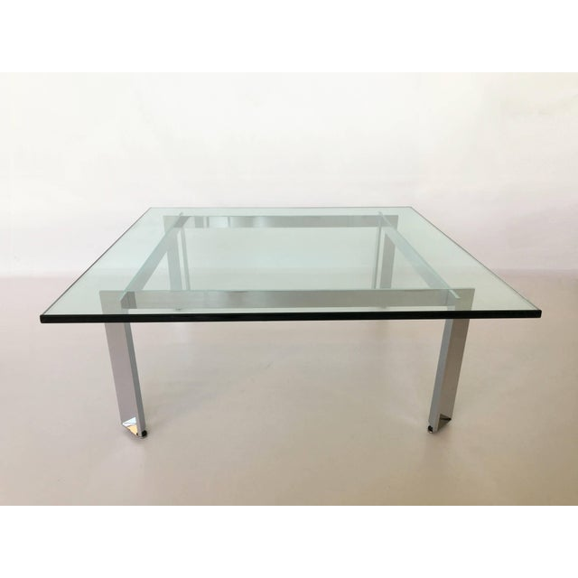 Modernist Square Chrome and Glass Coffee Table For Sale - Image 9 of 9