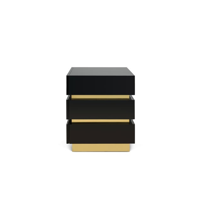 Contemporary Banded Nightstand in Black / Brass - Flair Home for The Lacquer Company For Sale - Image 3 of 5