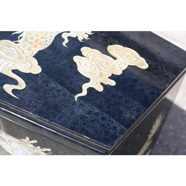 Vintage Chinoiserie Black Lacquered Cabinet With Carved Dragons For Sale - Image 9 of 12