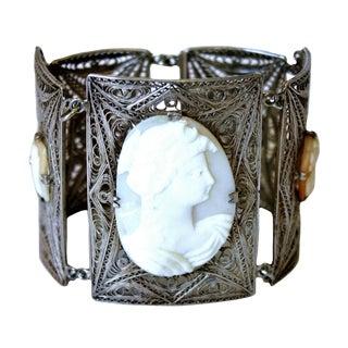 1930s Italian 800 Silver Filigree Cameo Bracelet For Sale