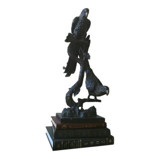 Tropical Bird Black Metal Statue For Sale