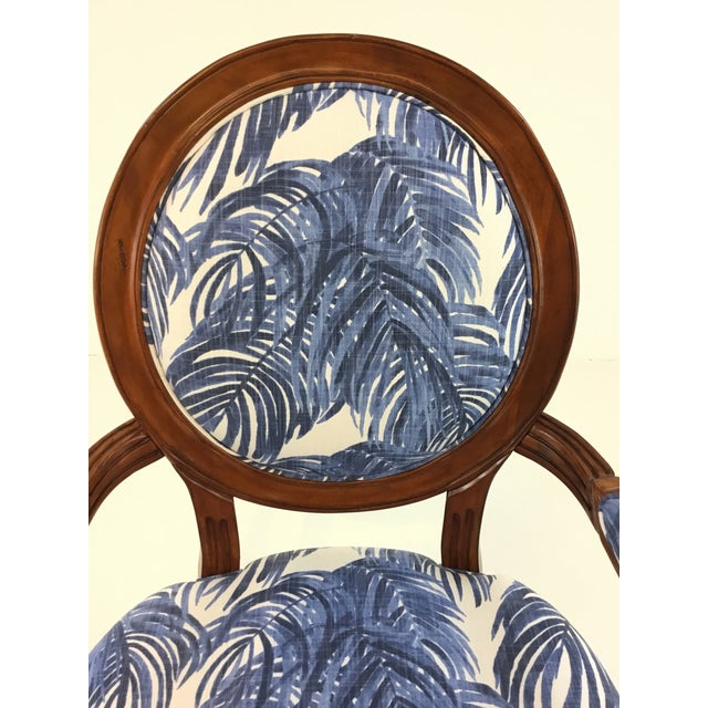 Stylish Port 68 French Style Blue Palm Print Avery Arm Chair, warm dark out finished frame, showroom floor sample,...