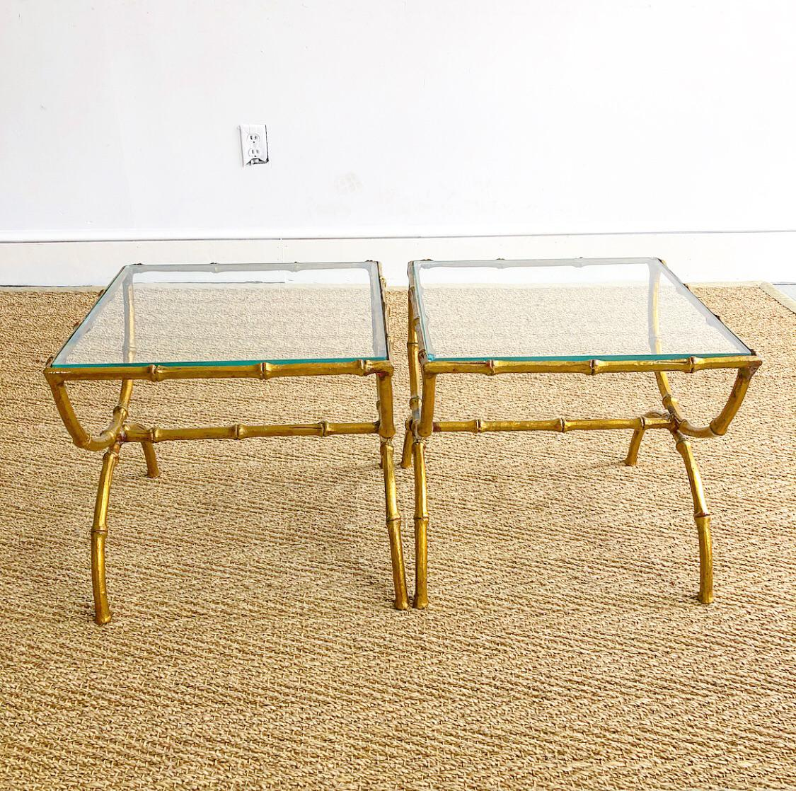 Vintage Pair Of Matching Italian Faux Bamboo Metal Side Tables That  Together Form A Cocktail Table