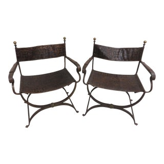 Vintage Italian Folding Campaign Chairs - a Pair