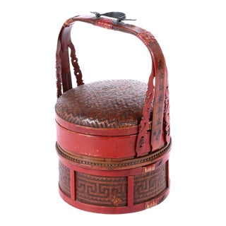 Antique Hand-Made Red Lacquer Chinese Covered Wedding Basket For Sale