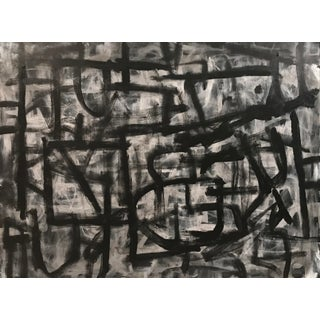 """Abstract Sarah Trundle Black and White Painting, """"Moving Day"""" For Sale"""