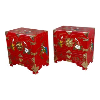 1970s Chinese Red Lacquered Commodes - a Pair For Sale