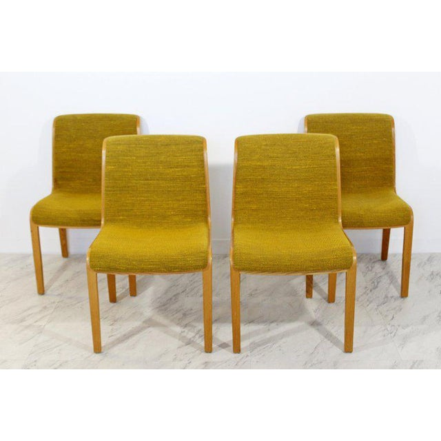 For your consideration is a phenomenal, set of four, blonde wood side chairs, by Bill Stephens for Knoll, circa the 1970s....