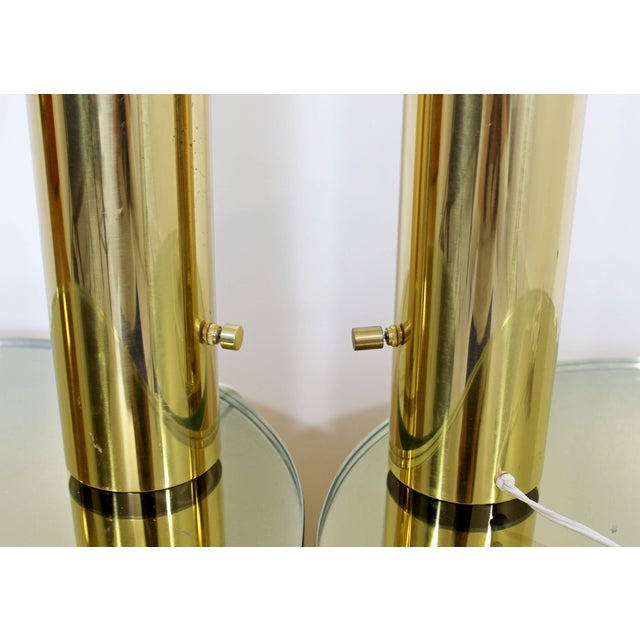 Mid-Century Modern 1970s Mid-Century Modern Cylindrical Brass Table Lamps - a Pair For Sale - Image 3 of 5