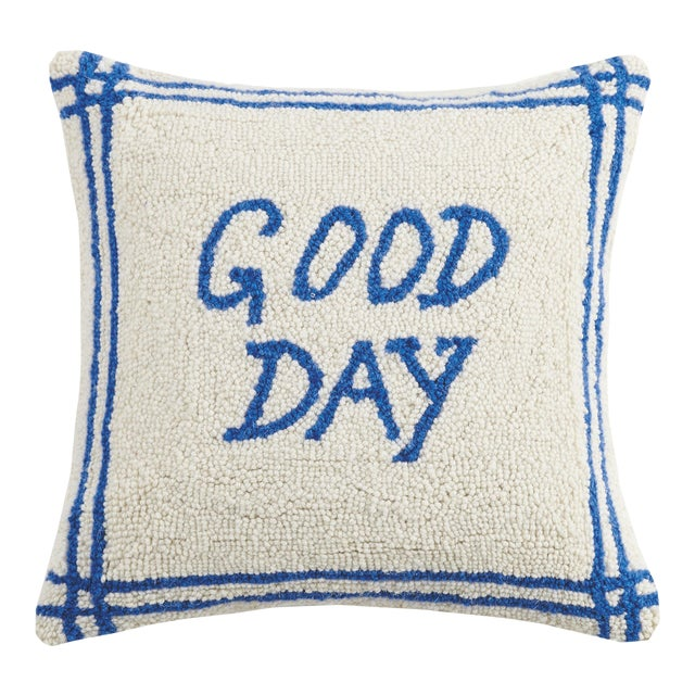 """Good Day Hook Pillow, 16"""" x 16"""" For Sale"""