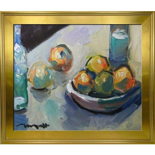 Jose Trujillo Framed Impressionist Still Life Oil Painting of Restaurant Kitchen For Sale