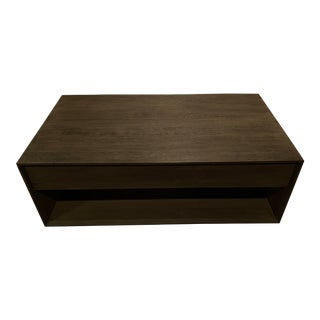 Pickled Oak Storage Coffee Table For Sale