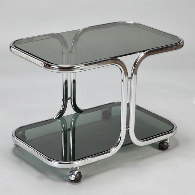 Italian Mid-Century Italian Black Glass Chrome Bar Cart, Serving Trolley For Sale - Image 3 of 6