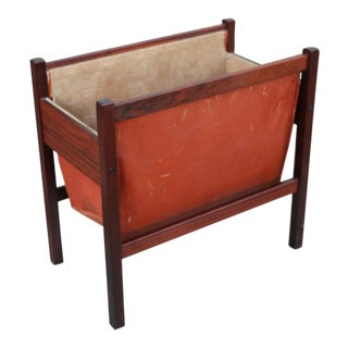 Danish Rosewood and Leather Magazine Rack For Sale