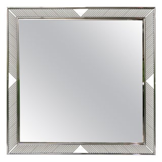 Contemporary Minimalist Italian Nickel Mirror With Modern Baguette Fretwork For Sale