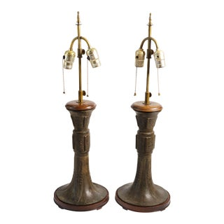 Antique Asian Bronze Table Lamps - a Pair For Sale