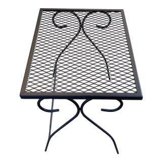 Mid Century Patio Table Refinished in Matte Black For Sale