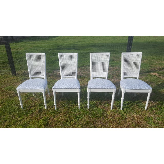 Set of 4- White Palm Beach Regency Faux Bamboo Caned Dining Chairs For Sale - Image 13 of 13