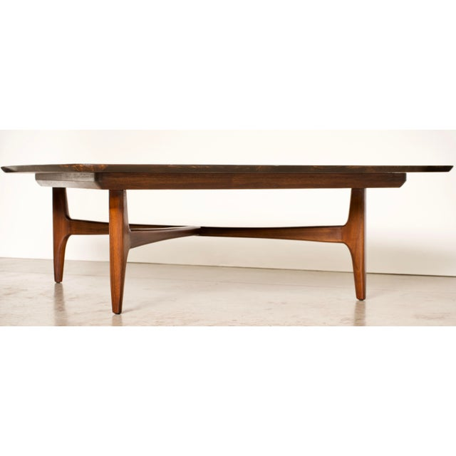 Contemporary 1960s Mid-Century Modern Erwin Lambeth Walnut Coffee Table For Sale - Image 3 of 10