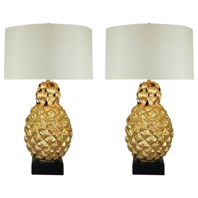 Marbro Italian Ceramic Pineapple Table Lamps Gold For Sale - Image 11 of 11