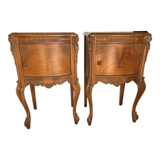 French Style Satin Wood Burl Nightstands - a Pair