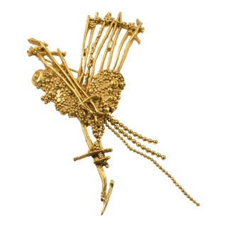 Christian Lacroix Brutalist Gilt Metal Heart Pin Brooch For Sale