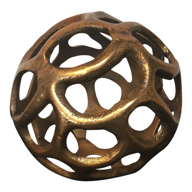 Round Gold Metal Orb - Image 1 of 6