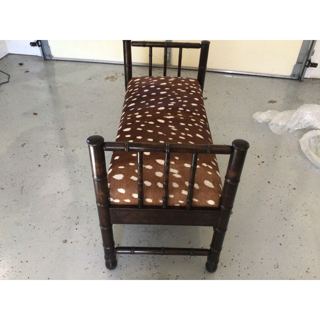 1940s Antique Hair on Hide in Chocolate Brown & White Bench For Sale - Image 5 of 6