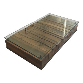 Industrial Modern Reclaimed Wood Beam Coffee Table