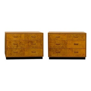 Gorgeous Pair of Restored Vintage Olivewood Chests by Henredon For Sale