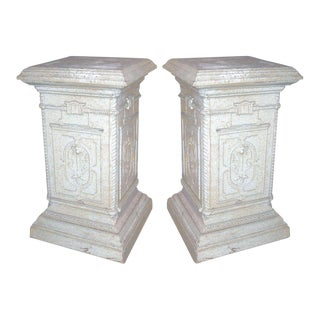 Pair of English Iron Pedestals For Sale