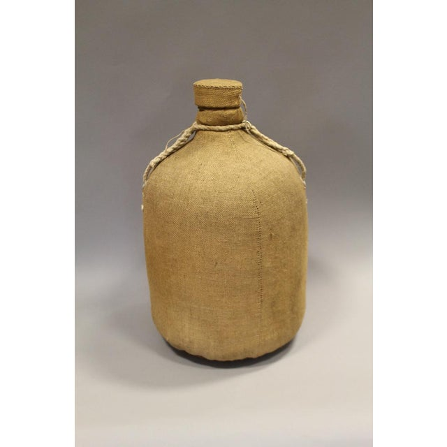 Large French Glass Bottle and Cork Lid With Original Cloth Covering For Sale - Image 5 of 5