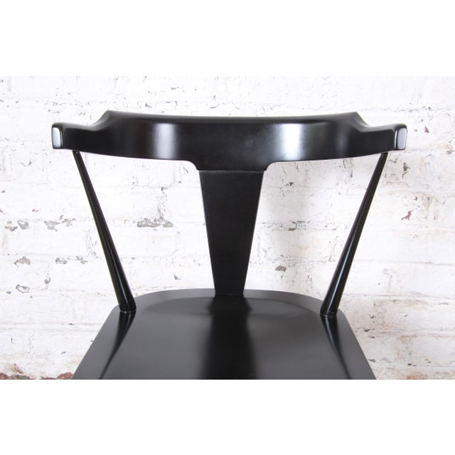 Paul McCobb Planner Group T-Back Black Lacquered Solid Maple Dining Chairs, Set of Eight For Sale - Image 10 of 13