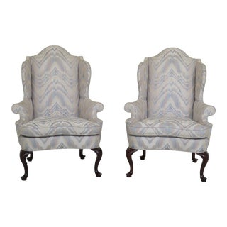 Modern Southwood Queen Anne Mahogany Wing Chairs- A Pair For Sale