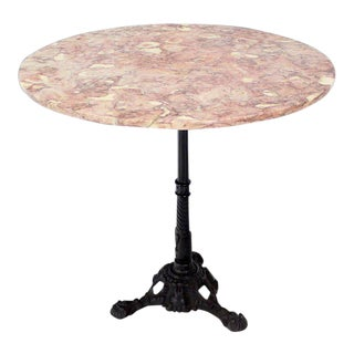 1970s Mid-Century Modern Cast Iron Base Pink Marble Top Pedestal Table For Sale