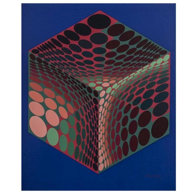 Pencil Signed Victor Vasarely Serigraph Titled Parmenide For Sale