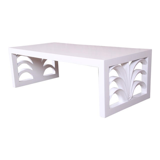 Robsjohn-Gibbings for Widdicomb Hollywood Regency White Lacquered Palm Leaf Coffee Table, Newly Restored For Sale