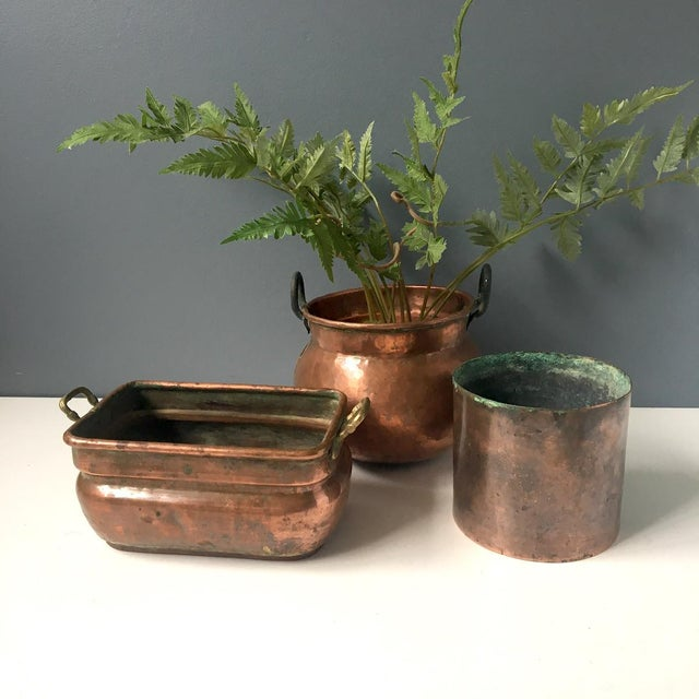 Copper Planters Rustic Decorative Plant Pots - Set of 3 | Chairish on kettle sea salt and malt vinegar, kettle tilt drains, kettle steaming rack for food with,