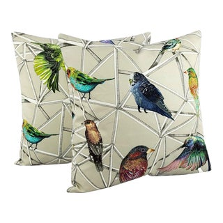 """Scattered Rainbow Birds on Geometric Osborne and Little Aviary Fabric in Multi Pillow Cover - 20"""" X 20"""" - a Pair For Sale"""