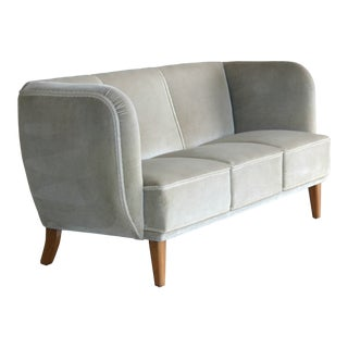 Danish Midcentury Curved or Banana Form Sofa in Beech and Mohair, 1940s For Sale