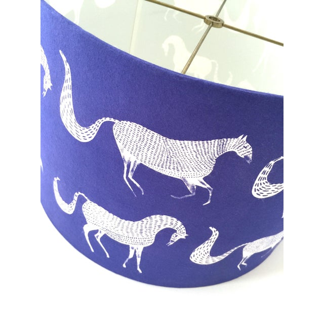 Metal Vintage Blue Scalamandre Style Drum Lampshades With Lascaux Horse Design - a Pair For Sale - Image 7 of 12