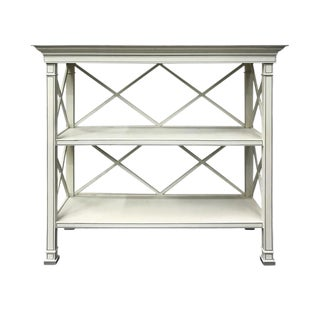 Vintage Criss Cross Bookshelf in Soft Grey For Sale