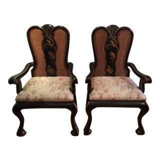 Vintage Chinoiserie Dining Chairs - Set of 10 For Sale